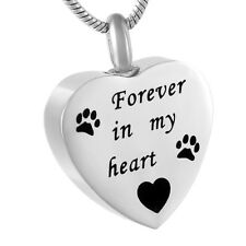 Stainless Steel Urn Ash Pendant Pets Always in My Heart Memorial Necklace