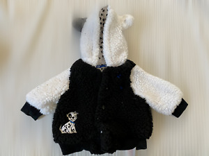 DISNEY STORE 101 Dalmations Dog Fleece Hooded Jacket age 0-3 months Happy Little
