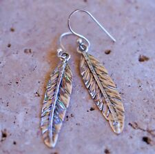 Stunning Pure Carved Feather 925 Sterling Silver Earrings