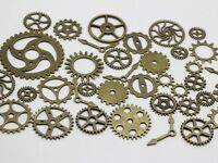 50 Assorted Bronze Tone Steampunk Filigree Gears Charm Pendant Finding Cogs Disc