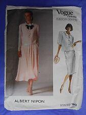 Vintage 1987 VOGUE Sewing Pattern 1842 American Designer ALBERT NIPON Size 12