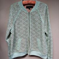 Victoria Beckham for Target Womens Mint Green Lace Bomber Jacket Size XL NWT $35