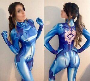 Samus Aran Jumpsuit METROID Bodysuit Cosplay Costume For Adult & Kids Halloween