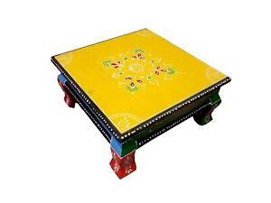 Indisch Holz Chowki Bajot Handgefertigt Hand- Geprägt Bemalt Klein Pooja Tisch
