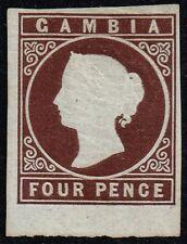 Gambia 1869-72 4d. brown, mint no gum (SG#1)