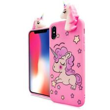 For Apple iPhone X - SOFT SILICONE RUBBER SKIN CASE COVER 4D PINK UNICORN STARS