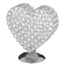 Heart Shaped Silver Table lamp with Glass beads and Integrated LED Bulbs