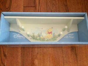 "NEW in Box Disney Baby Wood Wall Shelf w/Pegs Winnie The Pooh Ivory 17""L x 4""W"