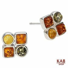 MIX BALTIC AMBER GEMSTONE STERLING SILVER 925 JEWELRY BEAUTY EARRINGS. KAB-64