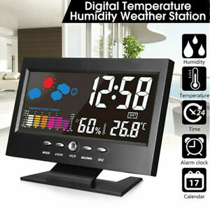 LCD Large Weather Station Wireless Thermometer Temp Humidity Indoor Clocks Home