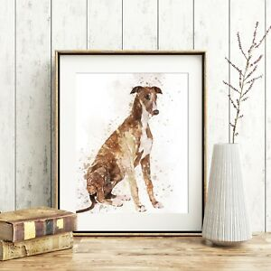 Greyhound Dog Wall Art, Watercolour Print, A4, *UNFRAMED*, Fab Pet Picture Gift