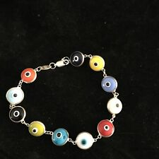 Evil Eye Bracelet Multi Color Sterling Silver .925 NEW
