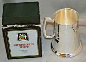Sheffield Mint Fine English Pewter Tankard Unused in Box Silver Plated on Copper