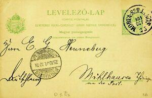 HUNAGRY 1901 5f UPU POSTAL CARD FROM MORVA-SZTJANCS TO MUHLHAUSEN GERMANY