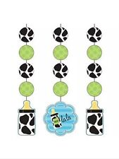 Baby Shower Party Supplies Cow print Boy decorations Hanging cutouts-3ct.