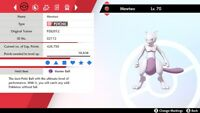 Non Shiny 6IV FEB2012 Event Pressure Timid Mewtwo Pokemon Sword/Shield + Item