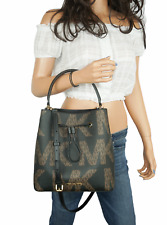 NWT Michael Kors Suri Large Bucket Drawstring Crossbody Bag MK Brown Black Multi