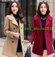 Korean Womens Wool Blend Belt Trench Coat Double Breasted Dress Jackets Slim FIt