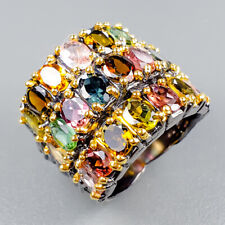 Handmade Natural Tourmaline 925 Sterling Silver Ring Size 6/R121835