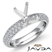 Emerald Semi Mount Diamond Engagement Eternity Style Ring 18k White Gold 1.08ct.