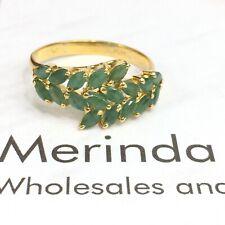 14k Solid Yellow Gold Band Natural Emerald. Sz 8. 2.23 Grams