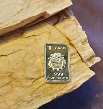 USMC Bull Dog. 1 gram .999 silver barter fractional bullion bar