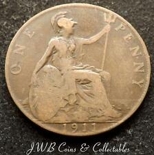 1911 George V One Penny 1d Coin - Great Britain,