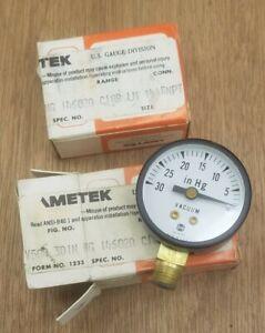 """US Gauge 30 in-hg 1.5"""" or 1-1/2"""" Bottom-mount Vacuum Gauge 1/8"""" MNPT - NEW"""