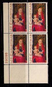 US USA Sc# 1336 MNH FVF Pl# Block Christmas Madonna & Child by Hans Memling Xmas