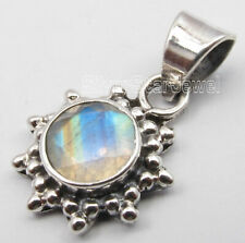 Genuine Rainbow Moonstone Pendant for Necklace 925 Sterling Silver Fashion Stone