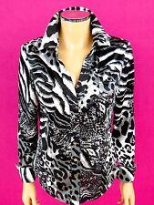 CACHE Snaps Blouse SIZE MEDIUM Black Gray White Leopard Animal Print Shirt Top
