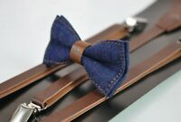 Boy Kids Navy Blue Denim Brown Faux Leather Bow tie + Brown Leather Suspenders