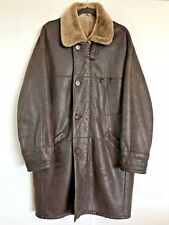 SERAPHIN Brown Leather Mouton Shearling Coat 50 Large Rancher France Jacket Mens
