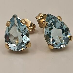 14ct Gold Aquamarine Pear drop stud Earrings ~small chip at top of one earring