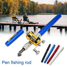 Telescopic Mini Portable Pocket Fish Aluminum Alloy Pen Fishing Rod Pole Reel GO
