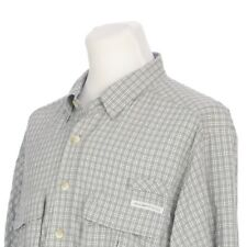 ExOfficio Vented Gray Check Roll Tab Sleeve Fishing Hiking Shirt Mens Medium