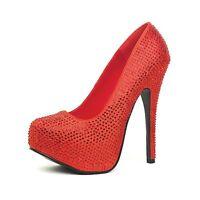 """Red Rhinestone Shoes Satin 5.5"""" Stiletto Platform Bombshell Ruby Slippers UK 4.5"""