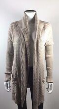 CHAN LUU Gold Metallic Lurex Cabled Long Sleeve Cardigan Sweater Size Small