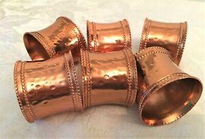 Six Nicole Miller Copper Hammered Napkin Rings - EUC, No Box