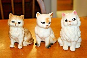 3 Vintage Cute Kitten Ornament Figurines Retro Bone China Ceramic Porcelain Cat
