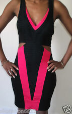 lipsy black & pink cut out side bodycon mini party v-neck dress uk size 6