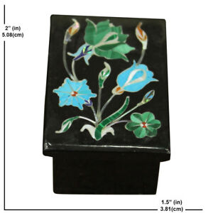 Trinket box vintage Marble jewelry hinged rectangle black onyx art inlay mosaic
