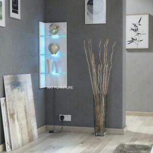 Floating Display Cabinet White High Gloss Wall Corner Shelf Unit CL09 LED Lights
