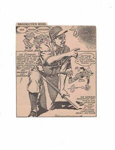 Leo Durocher Brooklyn Dodgers Newspaper Cartoon Cut Out by Tom Paprocki