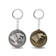 1x HBO Game of Thrones House Stark Head Pendant Metal Keyring Keychain Key Fob