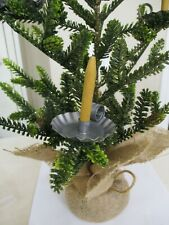 """7 ROUND Mueller Feather Tree 2"""" Tin Clip-On Candle Holders Yellow Wood Candles"""