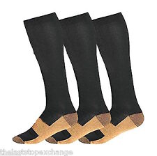 Copper Compression Support Socks 20-30mmHg Graduated Men's Women's 3 Pairs