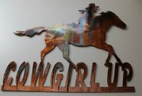 "Cowgirl Up Western Metal Wall Art 12"" x 10"""