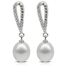 925 SILVER & 8mm AAA GRADED WHITE FRESHWATER PEARL/CUBIC ZIRCONIA DROP EARRINGS
