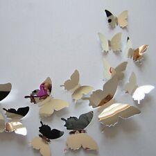 12Pcs Set DIY Mirrored 3D Butterfly Wall Stickers Mirror Art Decal Decor Modern
